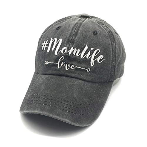 Waldeal Embroidered Unstructured Mom Life Love Vintage Jeans Adjustable Ballcap Cotton Denim Dad Hat Gift for Mom/Grandma Black