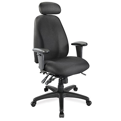 WorkPro Maverick Fabric Executive High-Back Multifunction Chair with Headrest, Black