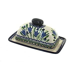 Blue Rose Polish Pottery Blue Tulip Butter Dish