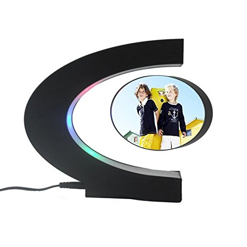 VGAzer Magnetic Levitating Floating Photo Frame with Colourful LED Light for Unique Gifts, Room Decor, Night Light, Home Office Decor Desk Tech Toys (C-Shaped) ()