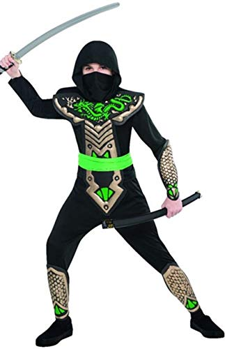 Boys Black Green Dragon Ninja Samurai Japanese Fighter Around The World International Warrior Halloween Carnival Fancy Dress Costume 4-10yrs (8-10 Years) -