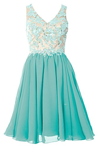 MACloth Women Crystal Lace Backless Short Prom Dress Formal Evening Party Gown Turquesa