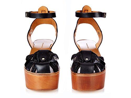 Isabel Marant madera gajos cuero sandalias negro - Número de modelo: ZELIE CP0007 16P008S BLACK 01BK negro