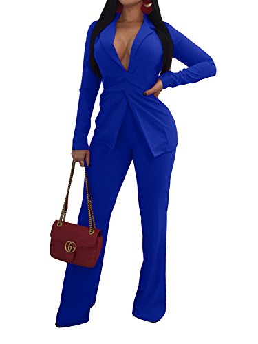 Jeanewpole1 Women Sexy 2 Piece Outfits Long Sleeve Slim Fit Blazer Jacket with Long Pants Suit Set Blue