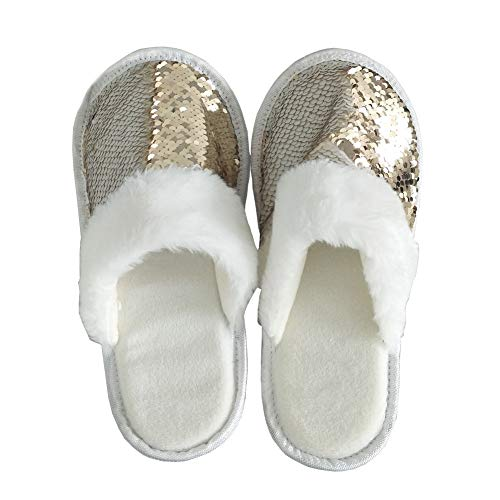 FanRich Woman Fashion Two Color Reversible Sequin Slipper, Girls' House Shoes,Princess Sparkly Slipper (Champaign Gold-Cream) -