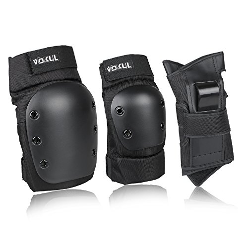 VOKUL Kids/Youth/Adults Knee Pads Elbow Pads Wrist Guards 3 In 1 Protective Gear Set, for Outdoor Sports Like Roller Skating Skateboarding BMX Bicycle Scooter Cycling (Black, S)