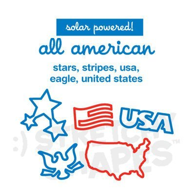 USA Shapes All American Solar Powered Silicone Silly Bandz Rubber Band Bracelets Party Favors with BONUS Keepsake Plastic Pouch- 6 Packs with 24 Bands in Each Pack (124 Wristbands Total)