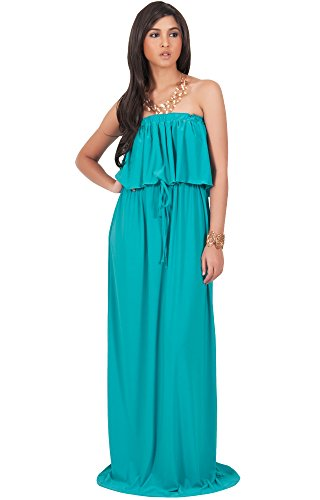 KOH KOH Womens Long Evening Summer Sexy Flowy Beach Party Casual Day Sun Casual Strapless Tube Loose Stretchy Sundress Maternity Gown Gowns Maxi Dress Dresses, Turquoise L 12-14 -