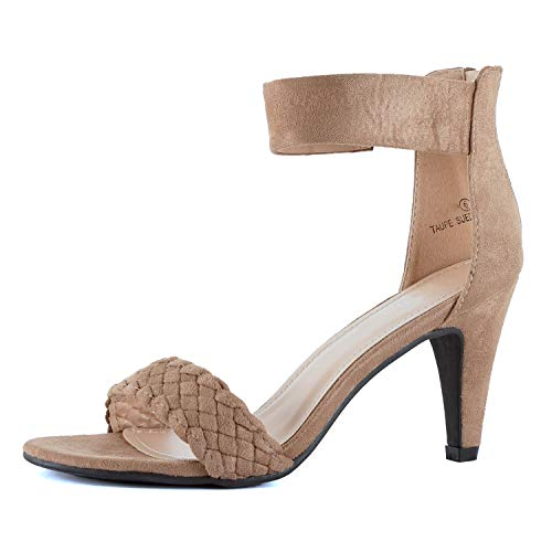 Guilty Shoes Women's Ankle Strap Open Toe Comfortable High Heels Dress Wedding Party Heeled Sandals (8 M US, Taupe Braid) Ankle Strap Wedding Sandals