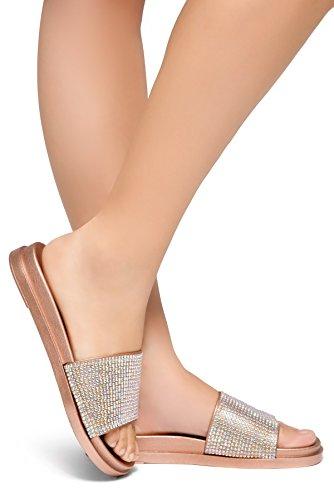 Herstyle Heated Women's Flat Sandal Rose Gold 7.0