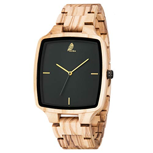 - Men's/Women Wooden Watch,CZOKA Wrist Watches Men/Woman 100% Natural Wooden Quartz Movement Clock+Date/Week Display Unisex Design Lightweight for Women's and Man's (Square Olive Wood)