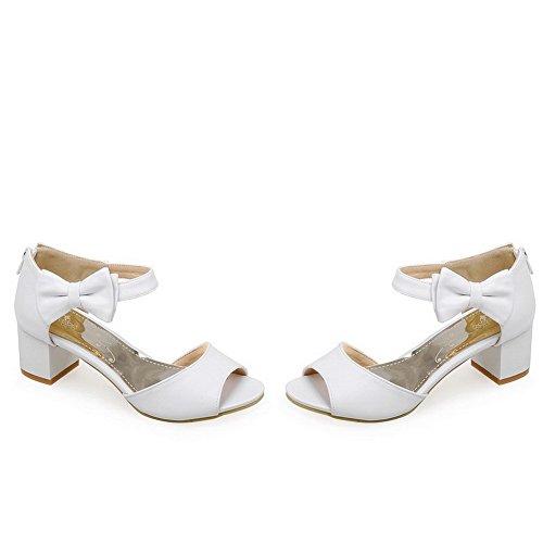 Blanc Sandales à Cuir Petite Ouverture PU Couleur VogueZone009 Correct Zip Unie Femme Talon HPR6Wxqw7