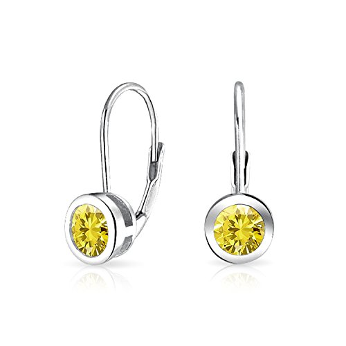(Minimalist .50 CT Canary Yellow Solitaire Bezel Brilliant Cut CZ Leverback Drop Earrings Simulated Topaz Sterling Silver)