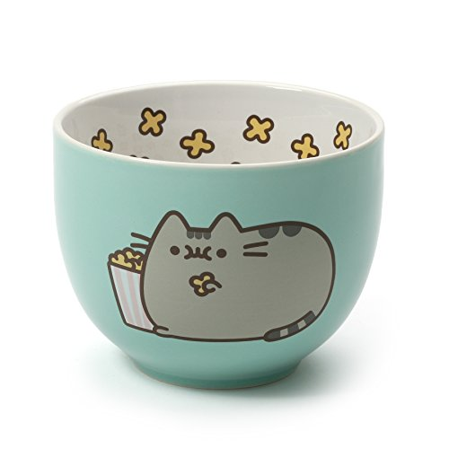 (Pusheen by Our Name is Mud Stoneware Popcorn Snack Bowl, Green, 4