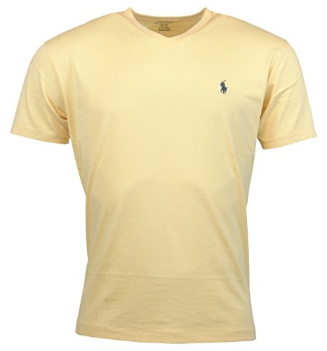 Polo Ralph Lauren Mens Classic Fit Solid V-Neck T-Shirt - M - Yellow