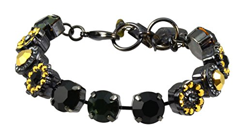 """Mariana Courage"""" Black Gold Plated Flower Crystal Tennis ..."""