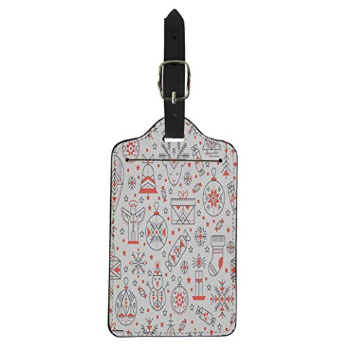 Pinbeam Luggage Tag Christmas Outlined Holiday and Winter Signs Black Red Suitcase Baggage Label ()