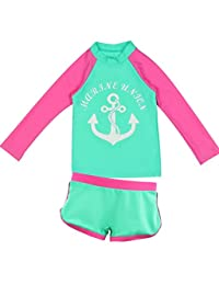 Best for All Kid Girl's Boy's Two-Piece Long Sleeve Swimsuits Bathing Suit,Toddler Kids Sun Protection UPF50+ Rash Guard