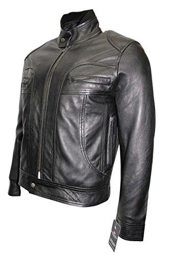 Nouveau 7173 Noir Biker Motard rétro Cool moto Couturier vrai cuir Veste homme