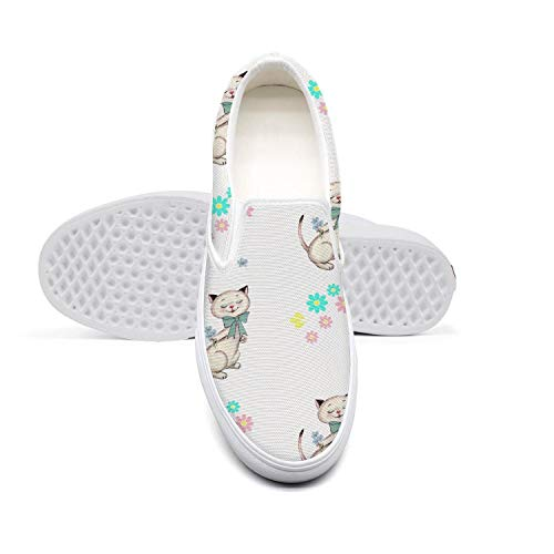 Women's Lazy Canvas Slip-On Shoes Free Printable Scrapbook Paper Cat Casual DailySneaker -