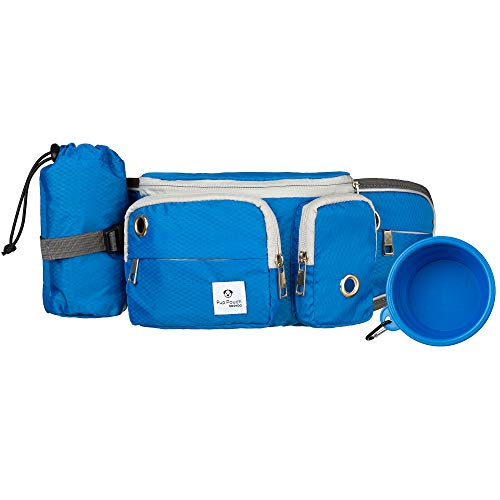 (Dog Walk Waist Fanny Pack Treat Pouch with Collapsible Water Bowl and Water Bottle Holder - Small/Medium Dogs Cobalt Blue)