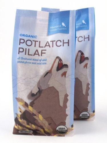 2 Pack of Certified Organic Potlatch Pilaf Heirloom Wild Rice and Split Emmer Farro Blend Washington, 16 oz each