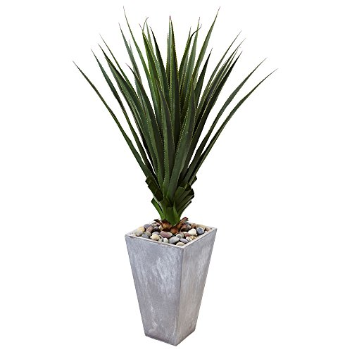 Nearly Natural 5'H Spiked Artificial Agave in Planter, Green by Nearly Natural