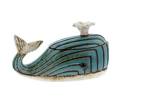 Deco 79 56755 Distressed Ceramic and Jute Rope Whale Jar, 7