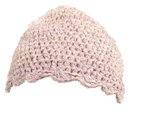 Bubu Crocheted Raspberry White Tweed Rayon Chenille Gimp Skull Cap