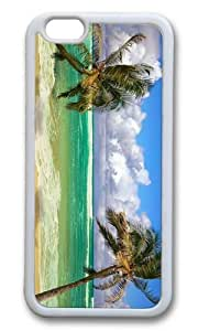 MOKSHOP Adorable Beach Palms Ocean Soft Case Protective Shell Cell Phone Cover For Apple Iphone 6 (4.7 Inch) - TPU White