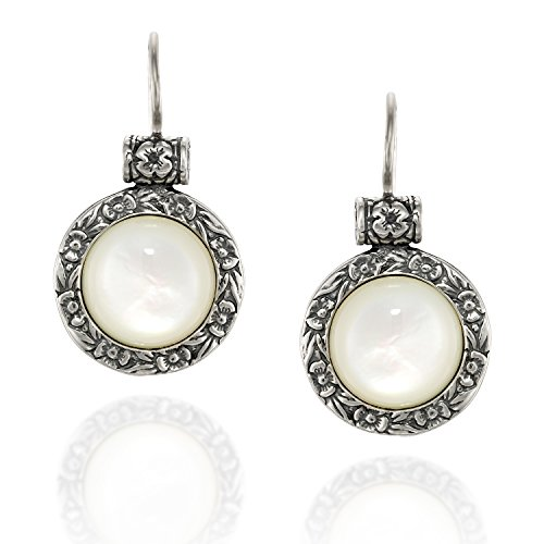 Antique Style Round Mother of Pearl Earrings with Ornate Floral Design and Secure - Pearl Earring Dangling Handmade