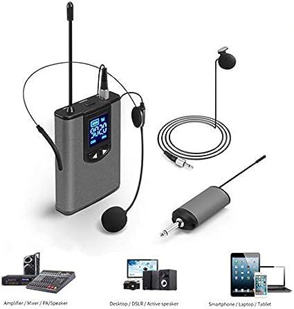 QAIYXM Micrófono, micrófono inalámbrico UHF Sistema Mini Solapa o del micrófono del Auricular con el transmisor Receptor portátil de Cuerpo de Teach Discurso Conferencia