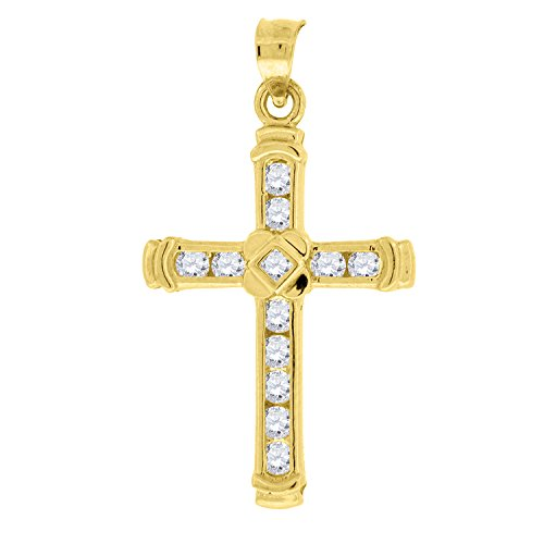10kt Yellow Gold Womens Mens Round Cubic Zirconia CZ Cross Religious Fashion Charm Pendant