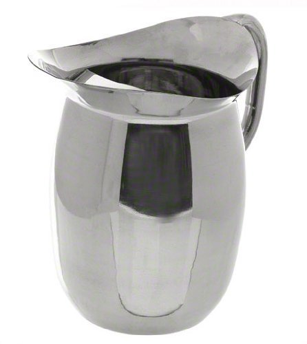 Update International BP-3G Stainless Steel Bell Pitcher with Ice Guard, Round, Lustrous, 96-Ounce, Set of 6 by Update International