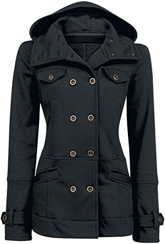 Forplay Cushy Coat Chaqueta con capucha Mujer Negro 3XL