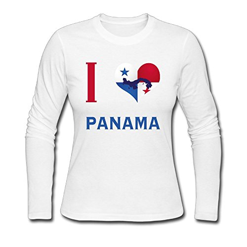 I Love Panama City Womens Crew Neck Comfortable Casual Screen-Print Long Sleeve Shirts - Panama In City Shopping