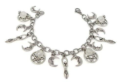 Triple Goddess Moonstone Charm Bracelet - Stainless Steel Chain Bracelet -Pagan Jewelry with Pentagrams - Triple Moon Jewelry - Pagan Jewellery - Wiccan Gift
