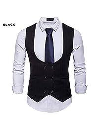 Mens Slim Fit Waistcoat Double Breasted Suit Vest Business Formal Dress Jacket