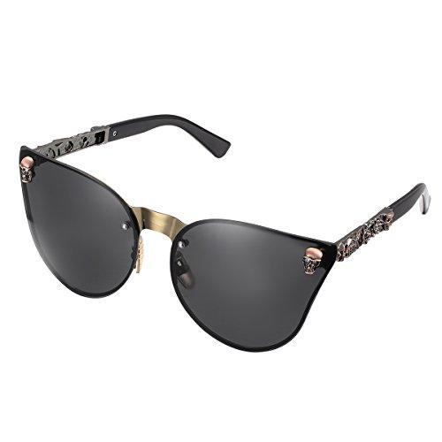 44f1a602bc2d LOMEDO Mirror Fashion Cateye Sunglasses for Women Skull Stytle UV400  Protection