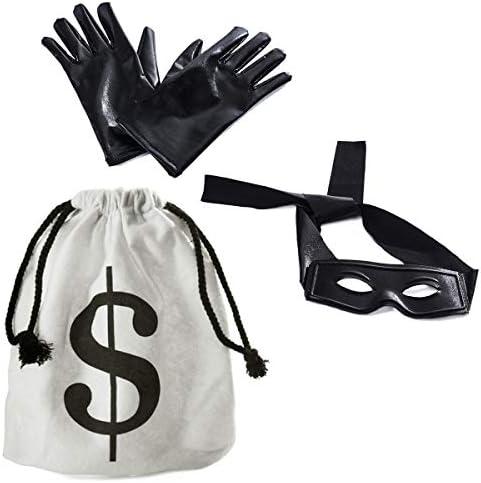 [해외]Tigerdoe Robber Costume - Bandit Mask Bag & Gloves - Burglar Costume - Bank Robber Accessories / Tigerdoe Robber Costume - Bandit Mask Bag & Gloves - Burglar Costume - Bank Robber Accessories