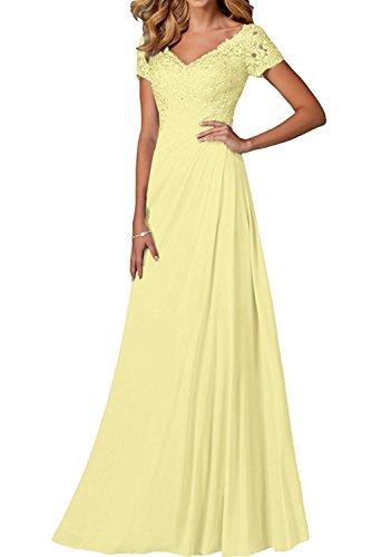 Charmant Brautmutterkleider Lang V linie Gelb Partykleider Hell Kurzarm Festlichkleider Rock Abendkleider ausschnitt A Damen Spitze BRSrgBy