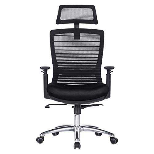 Novelland Ergonomic Reclines Office Chair with Adjustable Lumbar Support and Rollerblade Wheels – High Back with Breathable Mesh – Adjustable Head Arm Rests