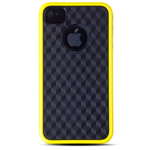 Zooky® gelb EXTREM KOHLENSTOFF Schutzhülle / Hülle / Cover für Apple iPhone 4 / 4S