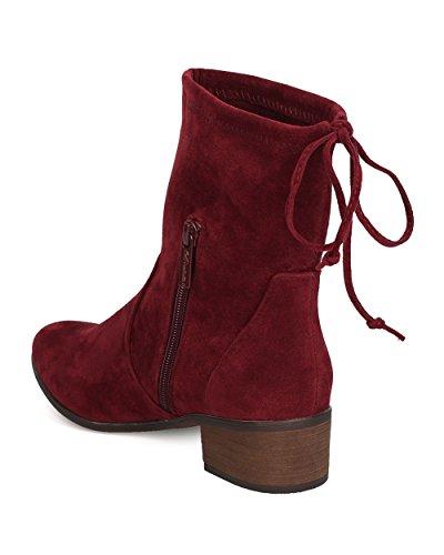Breckelles Kvinner Faux Suede Snøring Boot - Casual, Hver Dag, Dressy - Rund Tå Boot - Gc49 Av Vin
