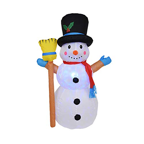 GWOKWAI Christmas Inflatable Decoration, Snowman Blow Up Yard Ornament with Rotating Multicolor LED Lights for Funny Xmas Holiday Party Home Indoor Outdoor Garden Scene Decoration from GWOKWAI