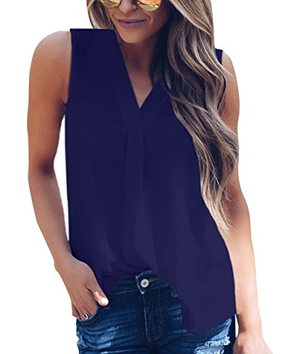 Sommer Oberteile Damen Sexy V Schnitt Armellose Tops Blouse Casual Mode Einfarbig Hemden T-Shirt Tanktop Navy Blau iye9RCtK9k
