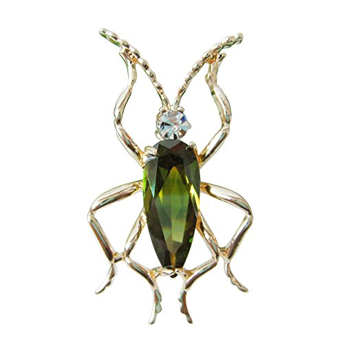 Navachi 18k Gold Plated Green Zircon Crystal Bug Az7461b Brooch - Brooch Emerald 18k