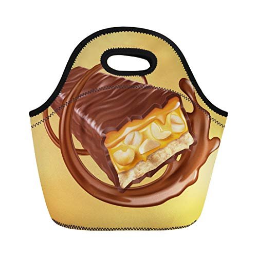 Swirls Nougat - Semtomn Lunch Tote Bag Chocolate Bar Sweet Nuts and Caramel Fillings Sauce Swirling Reusable Neoprene Insulated Thermal Outdoor Picnic Lunchbox for Men Women