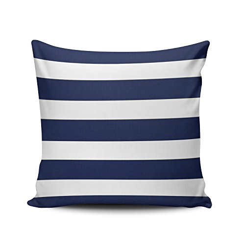 Hoooottle Custom Beauty Design Navy Blue and White Stripe Euro Square Pillowcase Zippered One Side Printed 26x26 Inches Throw Pillow Case Cushion - Cotton Stripes Pillow Sham