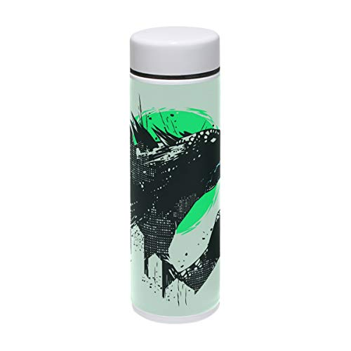 Jereee Godzilla Dinosaur Light Green 7.5 oz Drink Flasks Travel Mug Sports Thermos Stainless Steel PU Leather Double Wall Vacuum Insulated Cup Christmas Birthday Gift for -